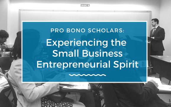 Pro Bono Scholars Experiencing the Small Business Entrepreneurial Spirit